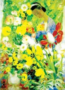 """Tranh """"Thiếu nữ và hoa"""" của họa sĩ Lê Phổ."""