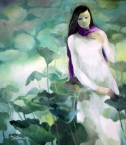 """Tranh sơn dầu """"Cô gái choàng khăn tím"""" của Tôn Nữ Tường Hoa"""