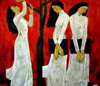 """Tranh sơn dầu """"Nữ sinh"""" của họa sĩ Hưng Dũng"""