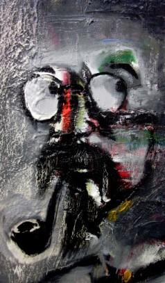 chân dung hoàng ngọc biên sơn dầu trên bố, 60x80 cm (2003) tranh đỗ trung quân