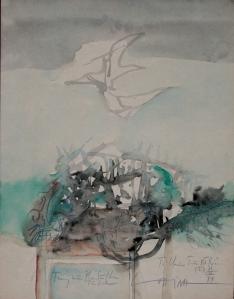 Tổ chim trên bờ biển I  màu nước trên giấy 11 x 14 in , VĐ 1974 (coll. DC )