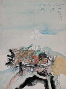 Tổ chim trên bờ biển III màu nước trên giấy 11 x 14 in , VĐ 1974 (coll. DC )