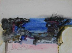 Tranh Võ Đình 1977, màu nước trên giấy 11 x 14 in ( coll. DC )