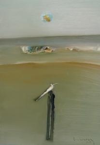 Chim biển  sơn dầu trên giấy plast 18 x 24 in  đinh cường 2003 ( coll. Dr, Lưu Trọng Cao Nguyên - Cali )