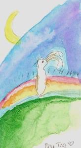 thỏ trắng - màu nước aquarelle - Như Thơ