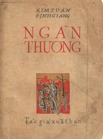 Bìa tập thơ Ngàn Thương   Kim Tuấn - Định Giang   Đinh Cường vẽ và kẻ chữ tay, tác giả xuất bản, 1961