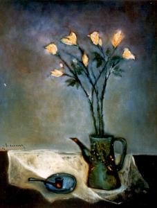 tĩnh vật hồng vàng sơn dầu trên vải bố 24 x 30 in đinhcường 1996
