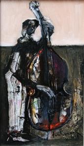 Người đàn contrabass sơn dầu trên canvas 12 x 16 in đinhcường 2008