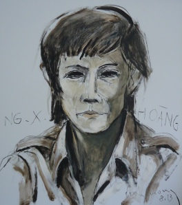 Nguyễn Xuân Hoàng thời Barbara phác thảo sơn dầu trên giấy plast. 18 x 20 in đinhcường 8 - 2013