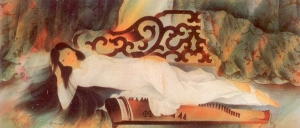 Thiếu nữ trên ghế trường kỷ Lụa Tôn Thất Văn 80 x 160 cm 1991