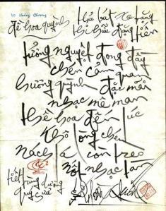 Thủ bút Vũ Hoàng Chương tặng Đặng Tiến