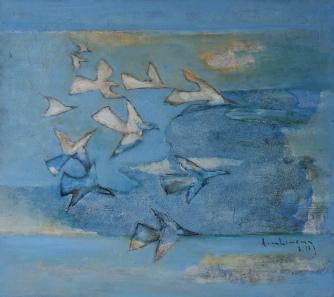 Nhiều mây chim bay không nổi sơn dầu trên giấy plast. 18 x 20 in đinhcường 6- 2013