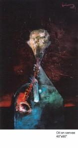 Tiếng kèn chiều  sơn dầu trên canvas 40 x 60 in  đinhcường