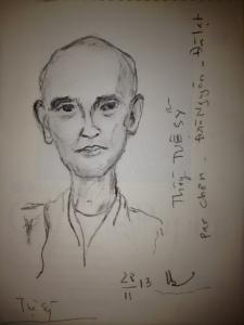 Thầy Tuệ Sĩ vẽ bởi Nguyễn Quang Chơn