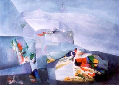 Phố núi sơn dầu trên can vas 40 x 60 in đinhcường