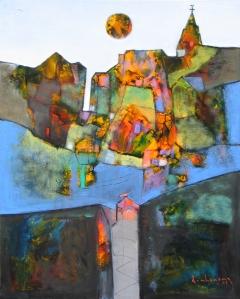 Phố Núi  sơn dầu trên canvas 24 x 30 in  đinhcường