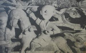 Người cỡi ngựa, chạm gỗ, Đình Liên Hiệp, Hà Tây 1663
