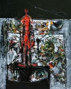 Người đứng nhìn về bên kia núi sơn dầu trên canvas 14 x 18 in (coll. Phan Thi Trọng Tuyến - Paris)