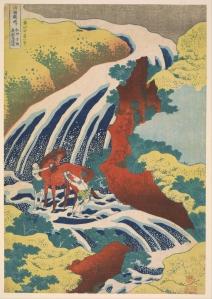 Ngựa bên thác - Hokusai