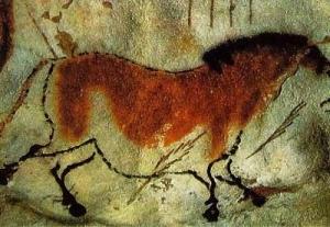 Hình vẽ ngựa hoang trên vách động Lascaux  (Ảnh: Softpedia News)