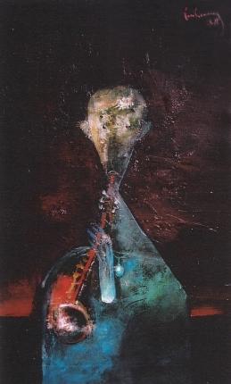 Tiếng kèn chiều sơn dầu trên canvas 30 x 50 in đinhcường (Coll. Mr. & Mrs. Đỗ Thanh Tùng, Michigan)