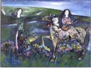 Đánh thức đồi hoa sơn dầu trên giấy 12 x 16 in đinhcường (coll. Mr. Huỳnh Hữu Ủy )