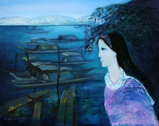 Huế nostalgia sơn dầu trên canvas 24 x 30 in đinhcường (coll. Mr. & Mrs. Phạm Phú Ngọc Trai – Sài Gòn)
