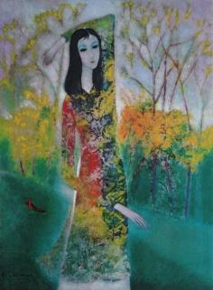 Thiếu nữ và hoa forsythia sơn dầu trên canvas 30 x 40 in đinhcường