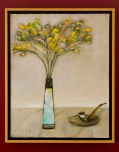 Tĩnh vật hoa vàng và pipe sơn dầu đinhcường (coll. Mr. & Mrs. Tuân - Thủy, Chicago)
