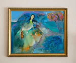 Dạ khúc trên đồi xanh sơn dầu trên canvas 24 x 30 in đinhcường (coll. Mr. & Mrs. Tuấn - Thủy, Chicago)