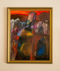Đôi môi em là đốm lửa hồng sơn dầu trên canvas 24 x 30 in đinhcường (coll. Mr. & Mrs. Tuấn - Thủy, Chicago)