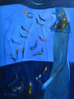 Dạ khúc chim sơn dầu trên canvas 30 x 40 in đinhcường
