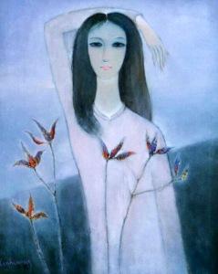 Thiếu nữ Blao sơn dầu trên canvas 24 x 30 in đinhcường