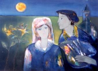 Thời ở Dran sơn dầu trên canvas 30 x 40 in đinhcường