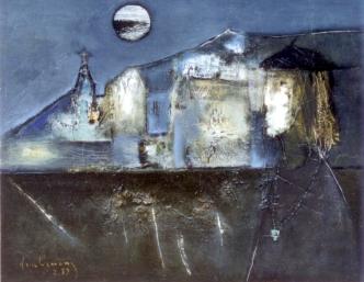 Bóng trăng phố cũ sơn dầu trên canvas 24 x 30 in đinhcường ( coll. Huy Tưởng )