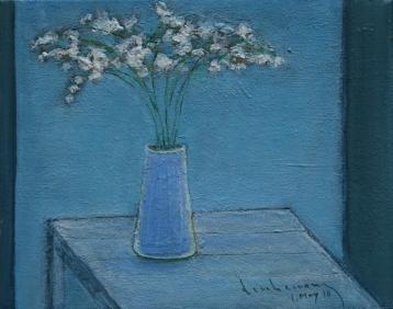 Tĩnh vật hoa muguet sơn dầu trên canvas đinhcường