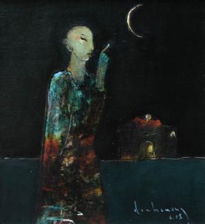Phật chỉ trăng sơn dầu trên giấy 18 x 20 in đinhcường