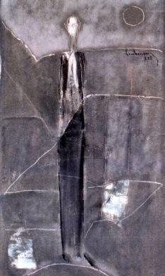 Đêm thắp nhang ngoài trời mù sương sơn dầu trên canvas 24 x 30 in đinhcường