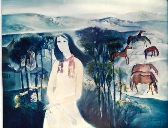 Thiếu nữ trên đồi Đàlạt sơn dầu trên canvas 30 x 40 in đinhcường