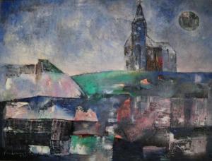 Nhà thờ miền đồi núi sơn dầu trên canvas 30 x 40 in đinhcường