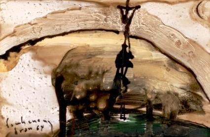 Đồi Golgotha sơn dầu trên giấy đinhcường. Dran 1964
