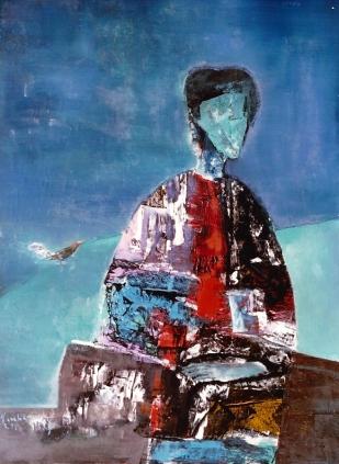 Ngưòi ngồi trong chiều cuối năm sơn dầu trên canvas 30 x 40 in đinhcường