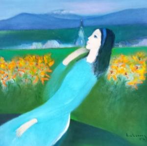 Đồi hoa quỳ vàng sơn dầu trên canvas 30 x 30 in đinhcường 6 - 2014