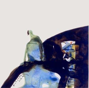 Người ngồi trên đá tảng sơn dầu trên giấy đinhcường