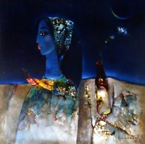 Khuôn mặt Blues oil on canvas 30 x 30 in đinhcường 1992 (coll. Mr. & Mrs. Nguyễn Ngọc Linh)