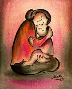 Mẹ và con tranh Bé Ký