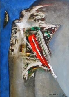 Trăng và tổ chim trên vách đá sơn dầu trên giấy plast. đinhcường