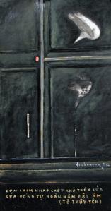 Bặt âm sơn dầu trên giấy đinhcường (đã tặng Tô Thuỳ Yên)
