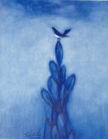 Chim  sơn dầu trên canvas 92 x 73 cm Thái Tuấn 1995