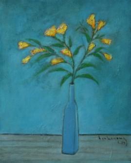Tĩnh vật hoa vàng sơn dầu trên canvas 16 x 20 in đinhcường